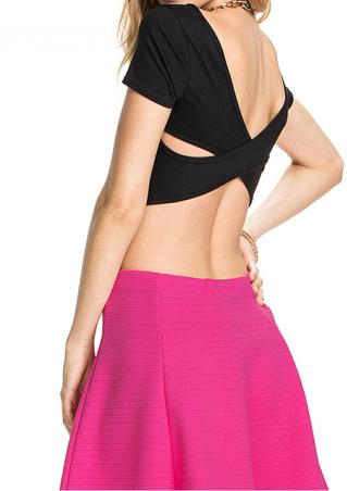 Short Sleeve Backless Crop Top