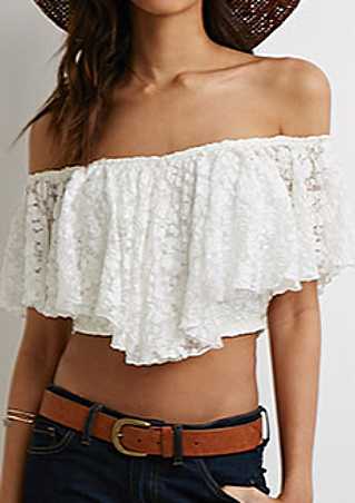 One Size Off The Shoulder Lace Crop Top 1476