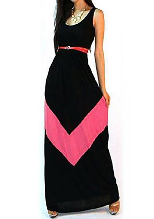 One Size Striped Spliced Maxi Dress