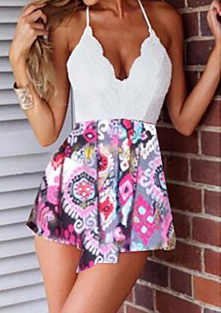 Lace Spliced Floral Printed Romper