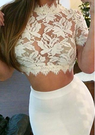 Lace Slim See-Though Crop Top