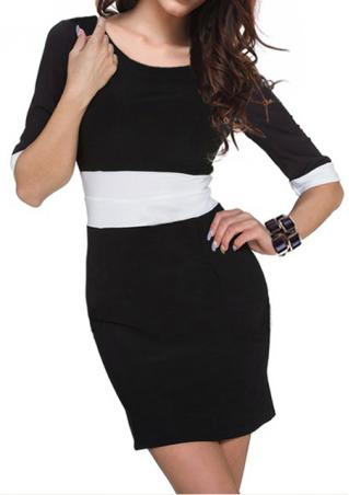 Half Sleeve Spliced Mini Dress