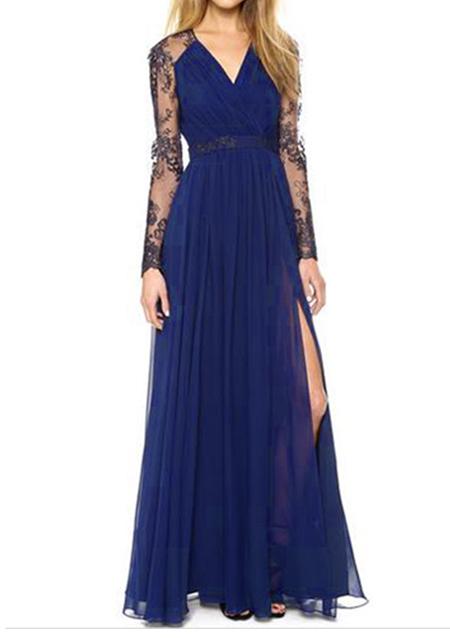 lace long sleeves maxi dress fairyseason. Black Bedroom Furniture Sets. Home Design Ideas