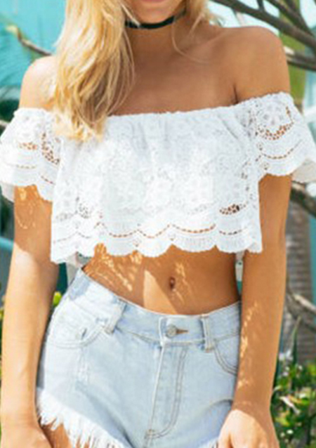Off The Shoulder Lace Crop Top 1282