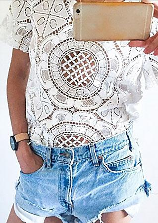 Short Sleeve Lace Floral Blouse