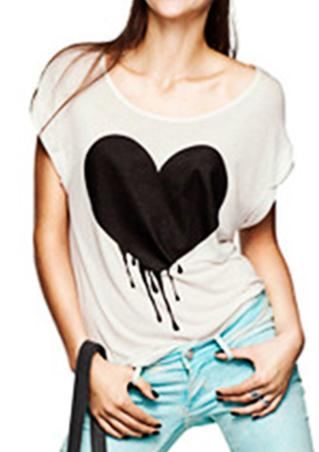 Casual Heart Printed T-Shirt Casual