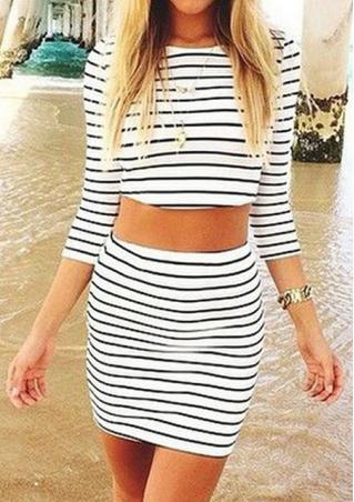 Stripe Crop Top With Pencil Skirt