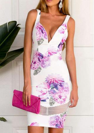 Deep V Backless Printed Mini Dress