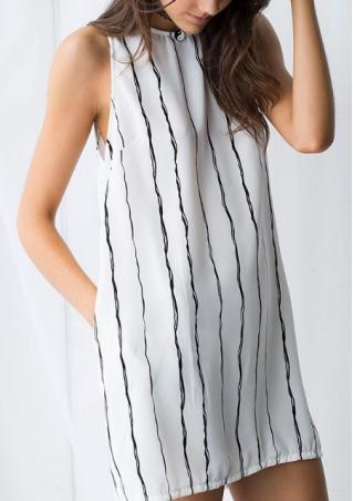 Sleeveless Vertical Stripes Shift Dress