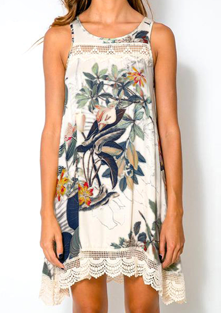 Rochie scurtă, fashion, din poliester, cu imprimeu floral și inserții din dantelă