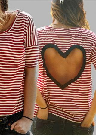Hollow Heart Striped T-shirt