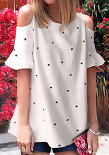 Bluză de damă, fashion, din poliester, cu imprimeu, mâneci scurte și umerii goi