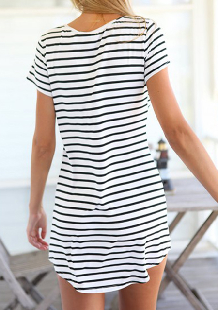 Striped V-Neck Mini Dress without Sunglasses – White