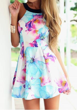 Sleeveless Floral Printed Mini Dress