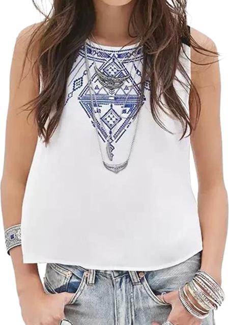 Bluză de damă, fashion, largă, din poliester, fără mâneci, cu broderie florală