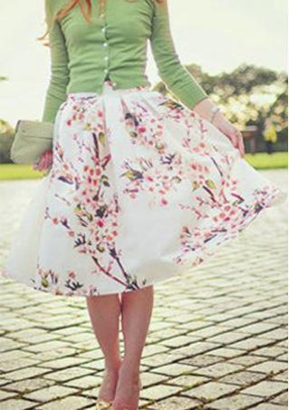 One Size High Waist Floral Midi Skirt One