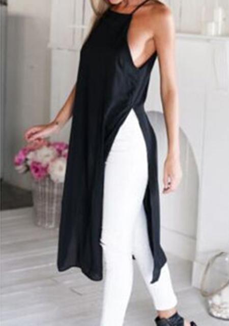 Rochie midi, casual, largă, fără mâneci, cu bretele subțiri și fante laterale