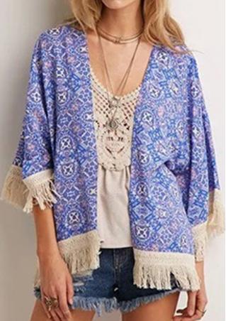 Loose Tassel Floral Kimono Cardigan