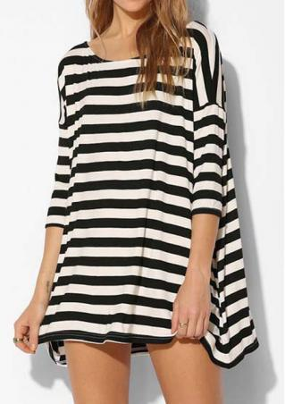 Loose Striped Mini Dress