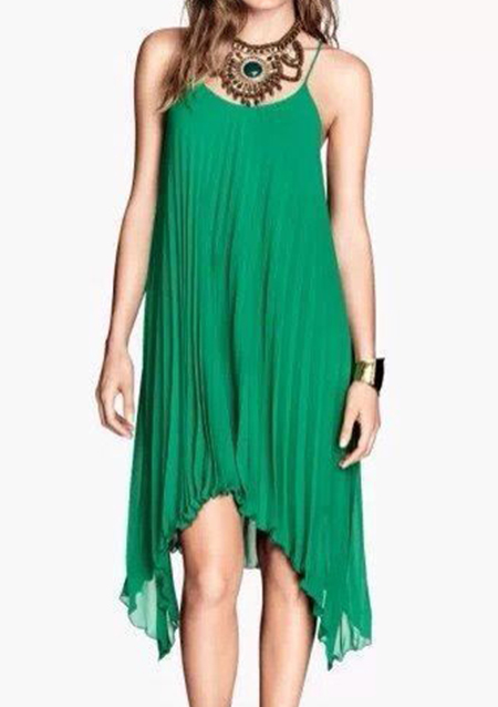 Rochie midi, fashion, plisată, fără mâneci, cu bretele subțiri și tiv asimetric