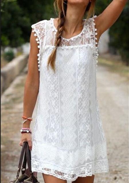 Lace Tassel Mini Dress