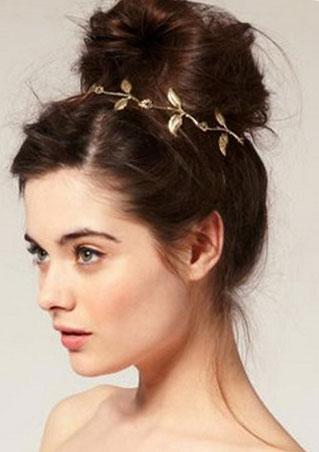 Metal Rhinestone Gold Leaves Headband Metal