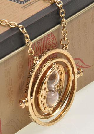 Gold Hourglass Rotating Necklace