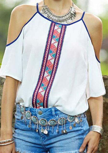 Bluză de damă, fashion, cu imprimeu floral și mâneci 1/2