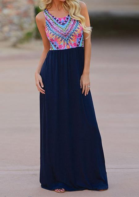 Rochie lungă, elegantă, casual, din poliester, fără mâneci, cu imprimeu floral