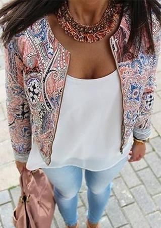 Zipper Floral Print Jacket