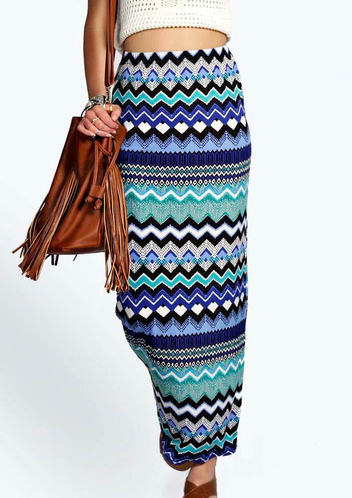 Fustă lungă, elegantă, tricotată, cu talie înaltă