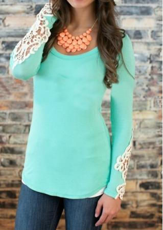 Lace Solid Print Blouse