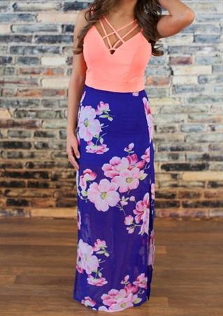 Rochie lungă, fashion, slim fit, cu imprimeu floral și fără mâneci