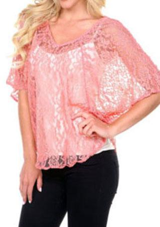 Loose V Neck Lace Blouse