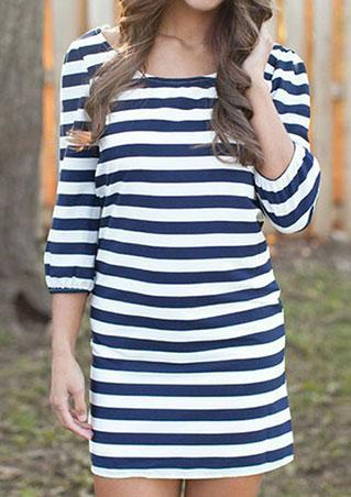 3/4 Sleeve Striped Mini Dress