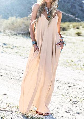 Rochie lungă, elegantă, casual, din poliester, fără mâneci, cu decolteu în v și buzunare laterale