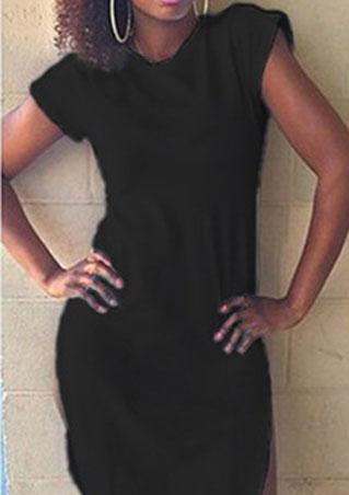Rochie scurtă, fashion, slim fit, din poliester, cu mâneci scurte și tiv asimetric