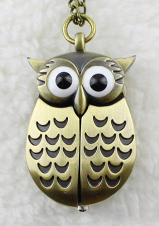 Owl Long Necklace Pocket Watch
