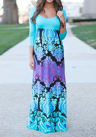 Rochie lungă, fashion, cu mâneci 3/4 și imprimeu