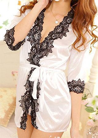 One Size Sexy Lace Sleepwear with Belt