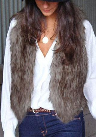One Size Fur Sleeveless Slim Jacket One