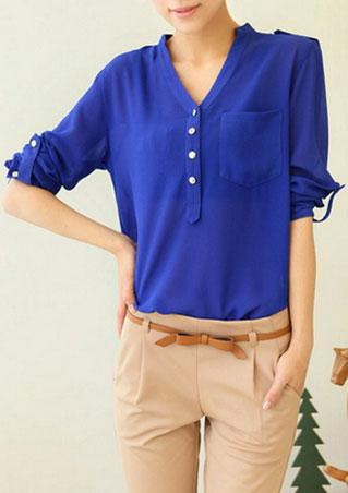 V Neck Button Blouse