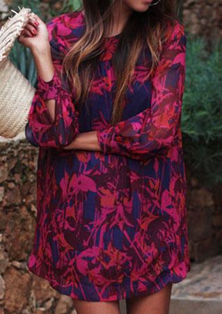 Rochie mini, fashion, din poliester, cu mâneci lungi și imprimeu floral