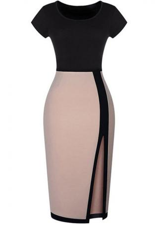 Short Sleeve Split Bodycon Dress