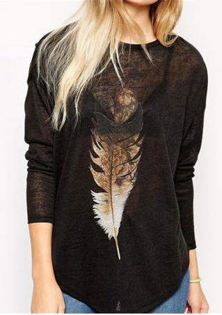 Long Sleeve Feather Print Blouse