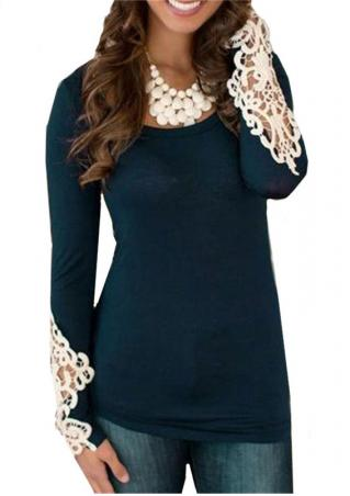 Long Sleeve Round Neck Hollow Blouse