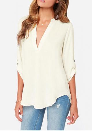 V Neck Solid Blouse