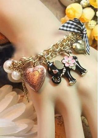 Elephant Pendant Pearl Chain Bracelet