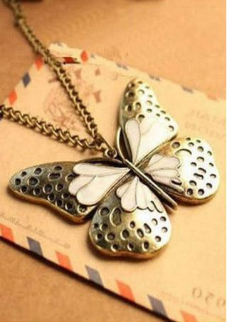 Butterfly Pendant Sweater Chain Necklace Butterfly