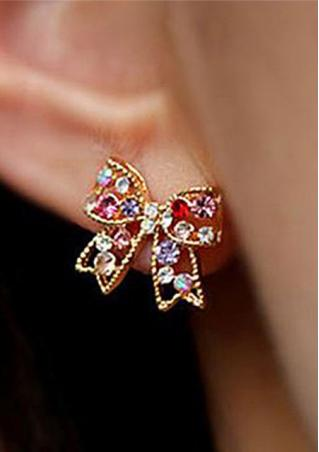 Crystal Gold Bowknot Earrings Crystal